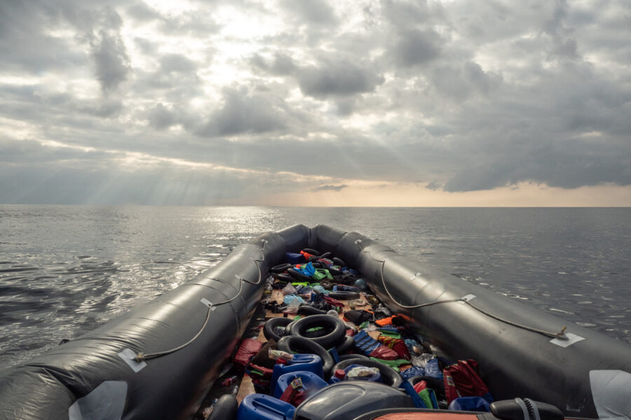 February The 27th, Sar Zone. Rescue Of 102 People From Deflating Rubber Boat.